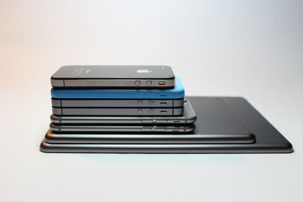 Mobile Phones Stacked Up